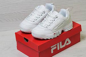 Женские, кожаные кроссовки Fila,белые , фото 2
