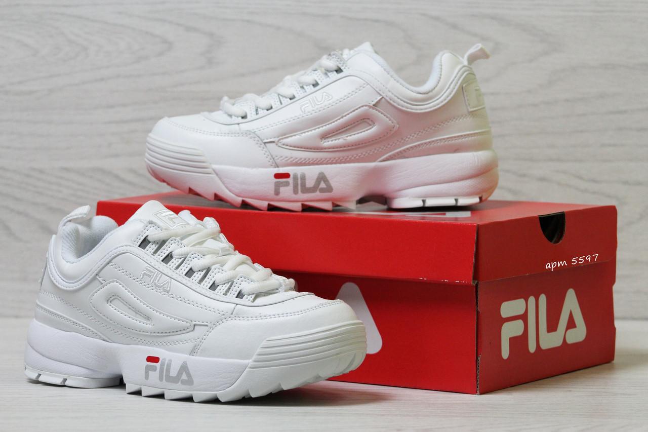 Женские, кожаные кроссовки Fila,белые