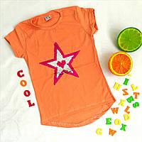 """Футболка детская на девочку """"Звезда"""", играющая пайетка, размер 8-12 лет, персиковый"""