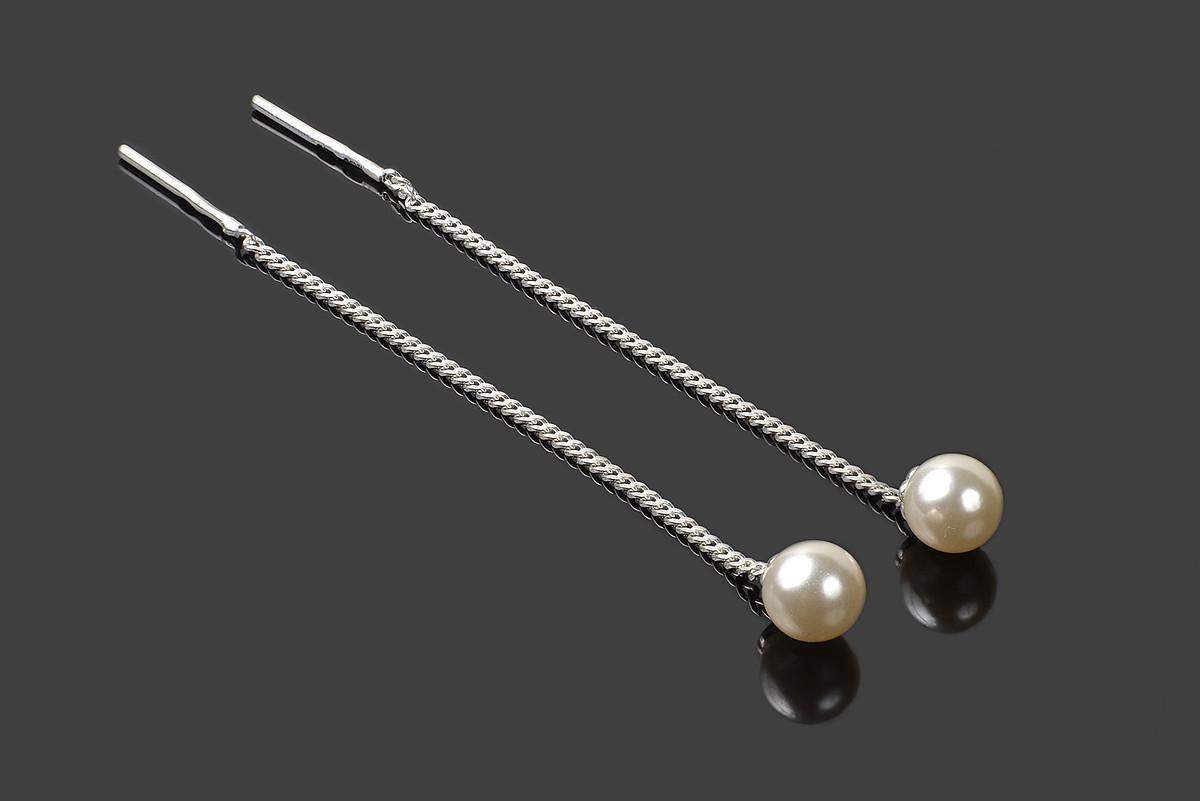 Серебряные серьги продевки Жемчужинки