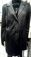 Плащ женский кожаный, удлиненный, на пуговицах, фото 1