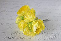Декоративные пионы 6 шт., 3 см. диаметр желтого цвета, фото 1