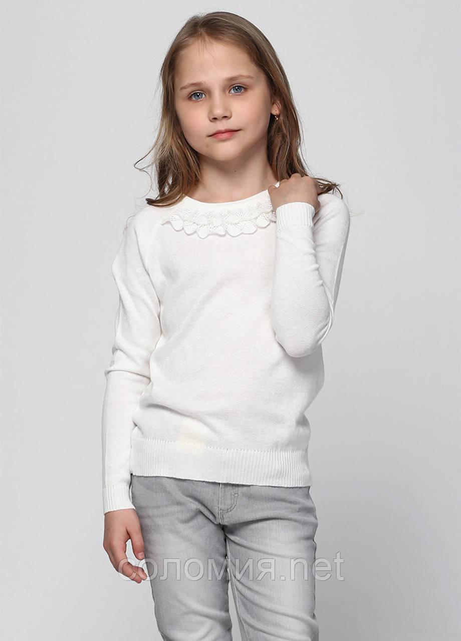 Молочний святковий джемпер з довгими рукавами для дівчинки 128-152р