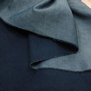 Ткань стрейч джинс плотный темно-синий