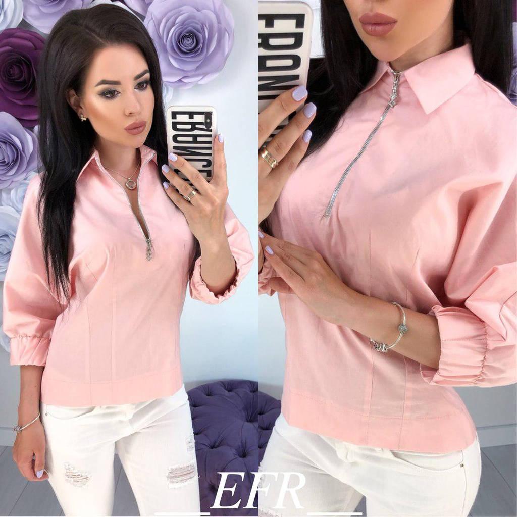 Женская коттоновая блузка с рукавом три четверти и на груди украшена молнией /2цвета  арт 5933-204