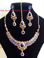 Индийское  украшение к сари, под золото с разноцветными камнями, набор тика, серьги, колье ., фото 1