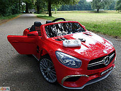 Детский электромобиль Mercedes SL65 красный c Планшетом или Без+ резиновые EVA колеса + Кожа сидение