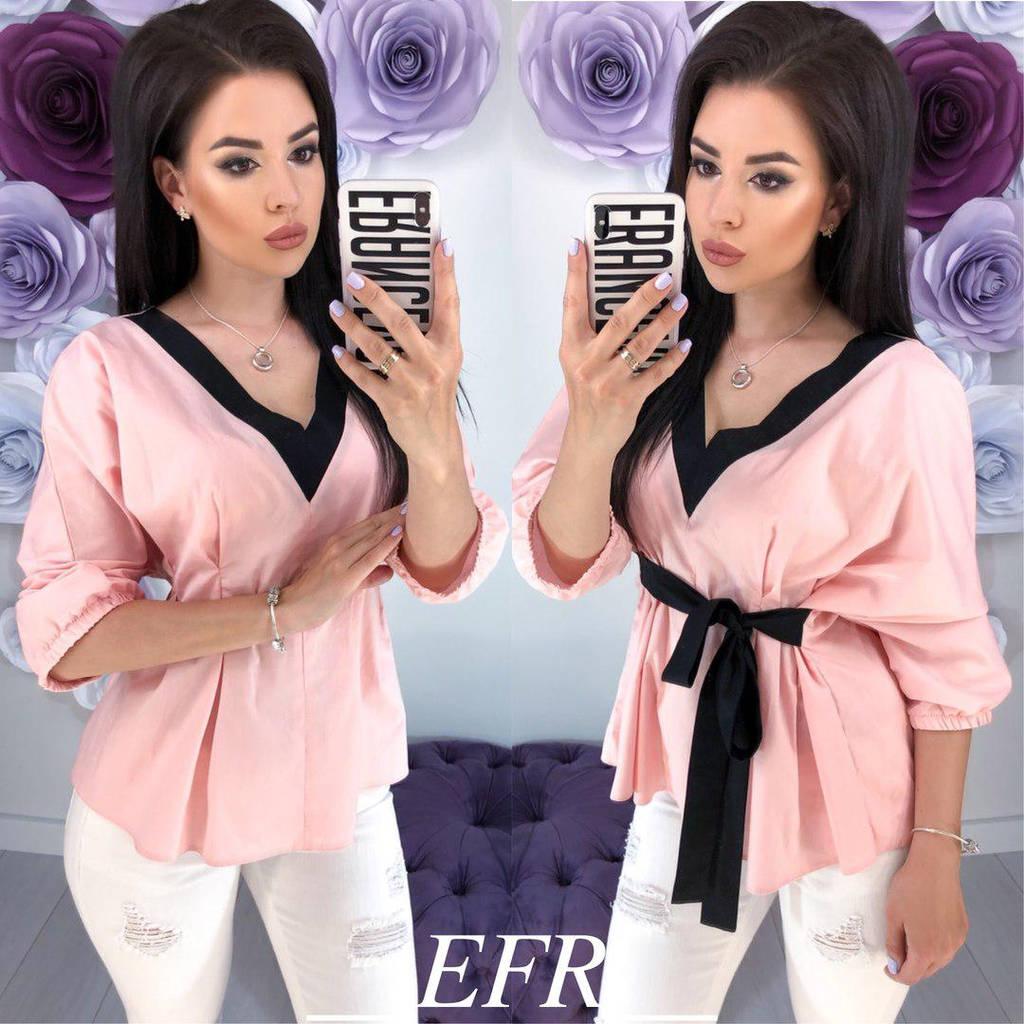 Женская коттоновая блузка с рукавом три четверти / 3 цвета  арт 5937-204
