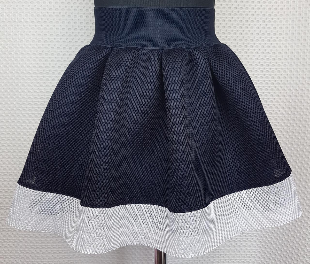 Школьная юбка  темно-синяя неопрен с белой вставкой внизу р. 116-134