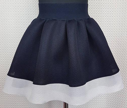 Школьная юбка  темно-синяя неопрен с белой вставкой внизу р. 116-134, фото 2