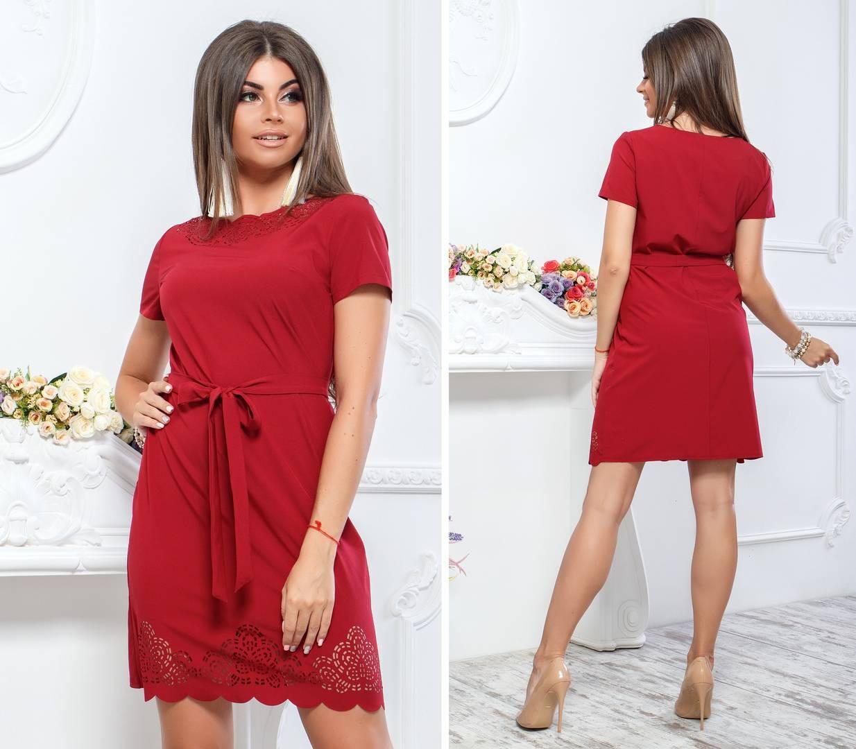 Платье с выбитым рисунком ( арт. 109 ), ткань супер софт, цвет бордо
