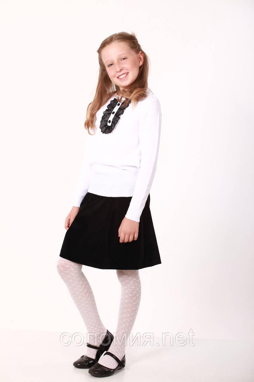 Білий класичний светр з чорною гипюровою вставкою для дівчинки 128-152р