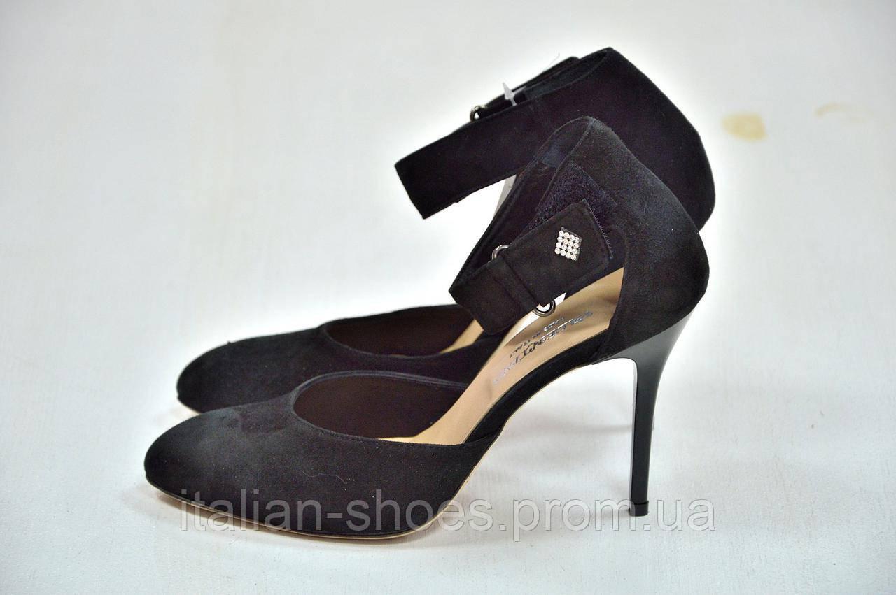 Черные замшевые босоножки на шпильке Valentino к.-509, фото 1