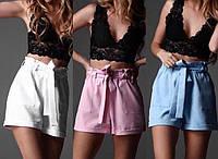 Женские летние шорты с высокой талией, костюмка, розовый, белый, голубой,красный, рр 42-44, 44-46, фото 1