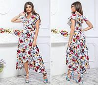 Длинное платье на запах ( арт. 111 ), ткань супер софт, принт красные цветы на белом