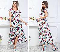Длинное платье на запах ( арт. 111 ), ткань супер софт, принт бордовые цветы на белом, фото 1