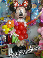Минни Маус из шаров с букетом ромашек, фото 1