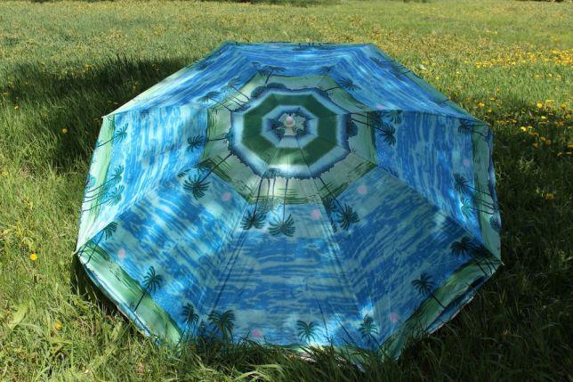 Зонт пляжный с наклоном, ткань с защитой от УФ излучения. 1,8 метра диаметр купол.