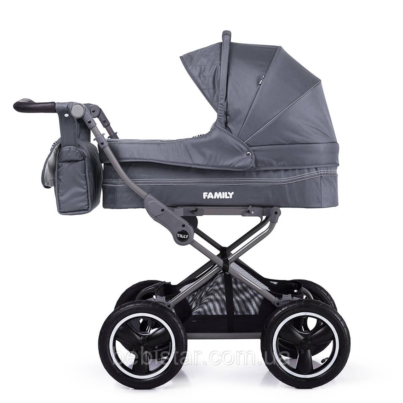 Універсальна коляска сіра Tilli Family 2в1 люлька прогулянковий блок матрацик москітна сітка дощовик