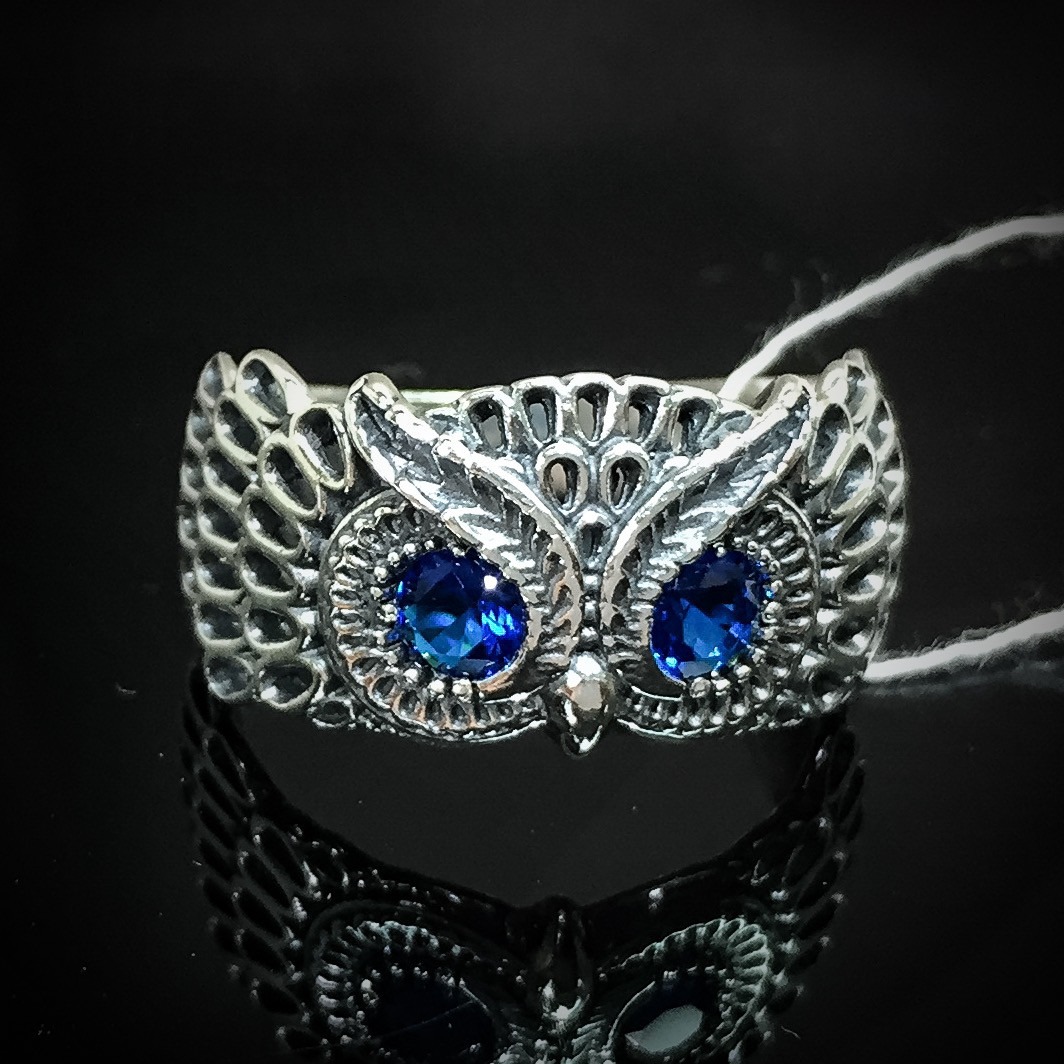 Серебряное кольцо Сова с глазками