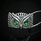 Срібне кільце Сова з вічками, фото 3