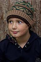 """Шапка для мальчика """"Двойной подворот"""" """"Fonem"""", коричневый, 54-56, 54 см, 56 см"""