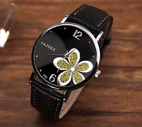 Женские часы Yazole WW10101 Black Black Gold (Black 1)