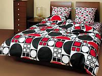 Комплект постельного белья ТЕП евро размер Круги черно-красные, фото 1