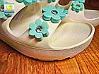 Шлепанцы на платформе из пены ЭВА, р.36, 37. Белые с бирюзовыми цветочками, фото 4