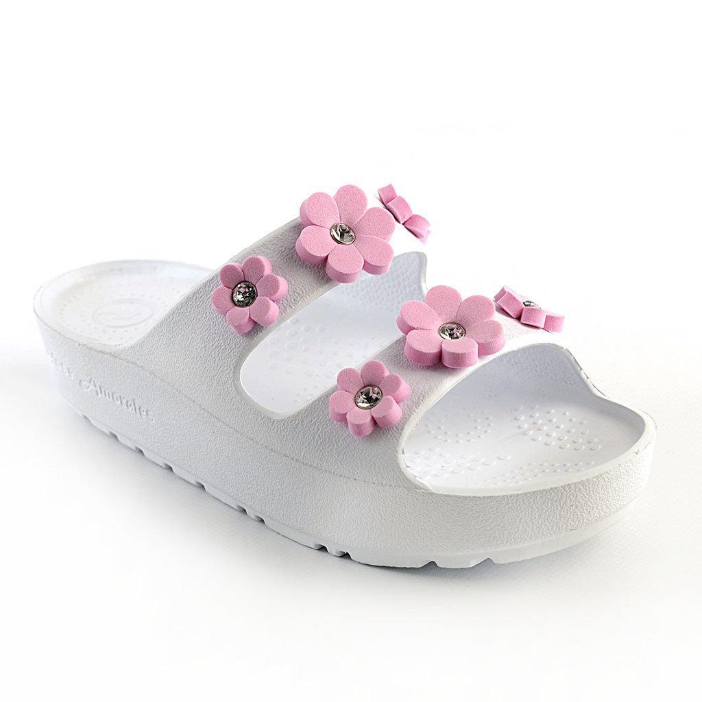 Шлепанцы на платформе из пены ЭВА, р. 36,38. Белые с розовыми цветочками