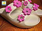 Жіночі шльопанці на платформі з піни, 36,38, білі з рожевими квіточками, фото 8