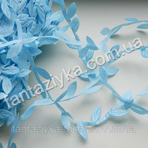 Тесьма декоративная Листики 15мм голубая