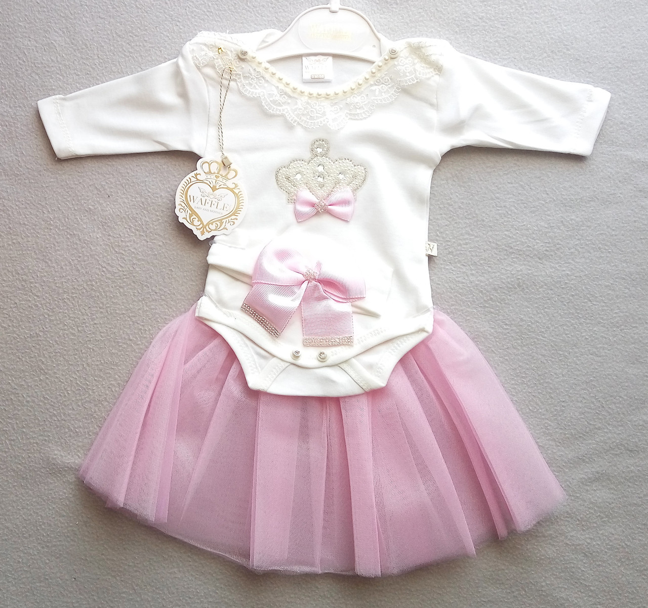 047c826d5f32 Нарядный костюм с боди и юбкой для новорожденных, на девочек 0-6 месяцев —  ...