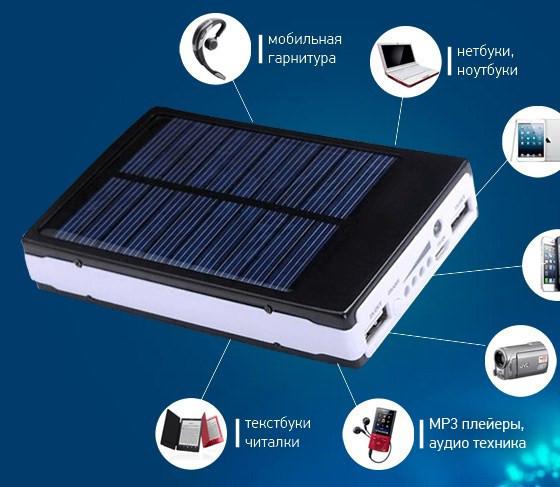 Power Bank 30000 mA c солнечной батареей+LED фонарь