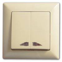 GUNSAN VISAGE Выключатель 2-х клавишный с подсветкой  крем