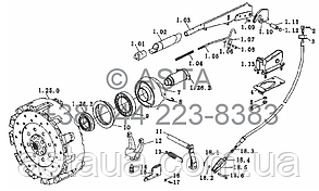 Вал отбора мощности привода сцепления на YTO-X854