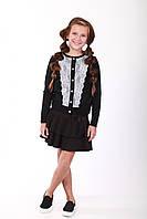 Елегантний чорний жакет на гудзиках для дівчат 128-152р, фото 1