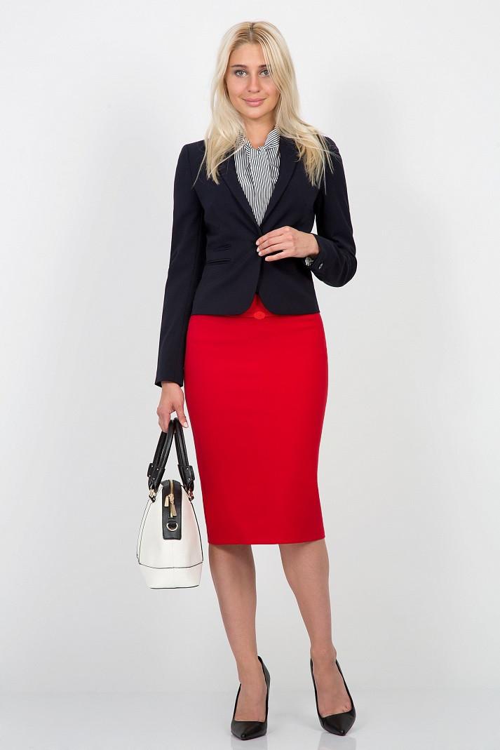 0f40bf3a8dd Стильная трикотажная юбка карандаш красная