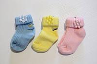 """Носочки для младенцев """"Ромашки"""" 0-6 мес (плотная вязка), фото 1"""