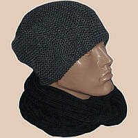 Мужская вязаная шапка-носок объемной вязки и шарф-снуд