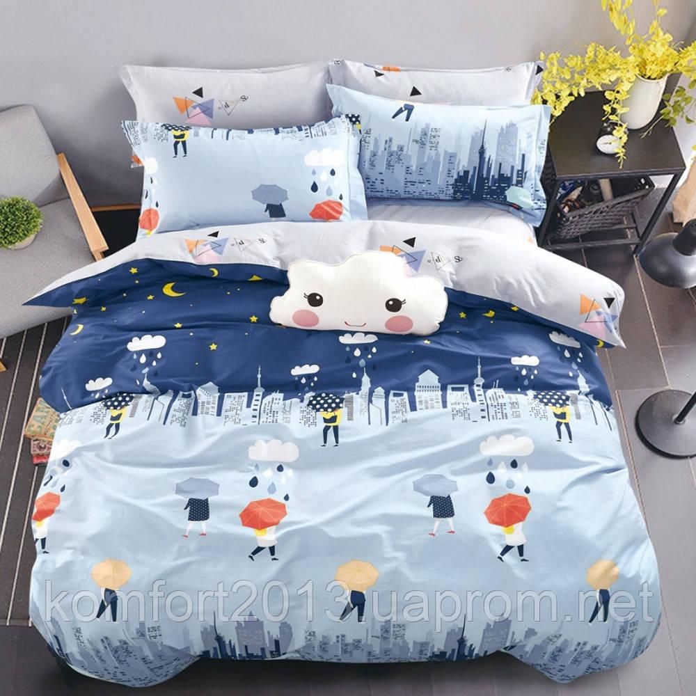 Полуторное постельное белье, Облака, сатин 100%хлопок