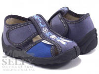 Тапочки для мальчика Валди Паша серо-синий, моряк