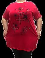 Женская туника супер большой размер, цвет бордо