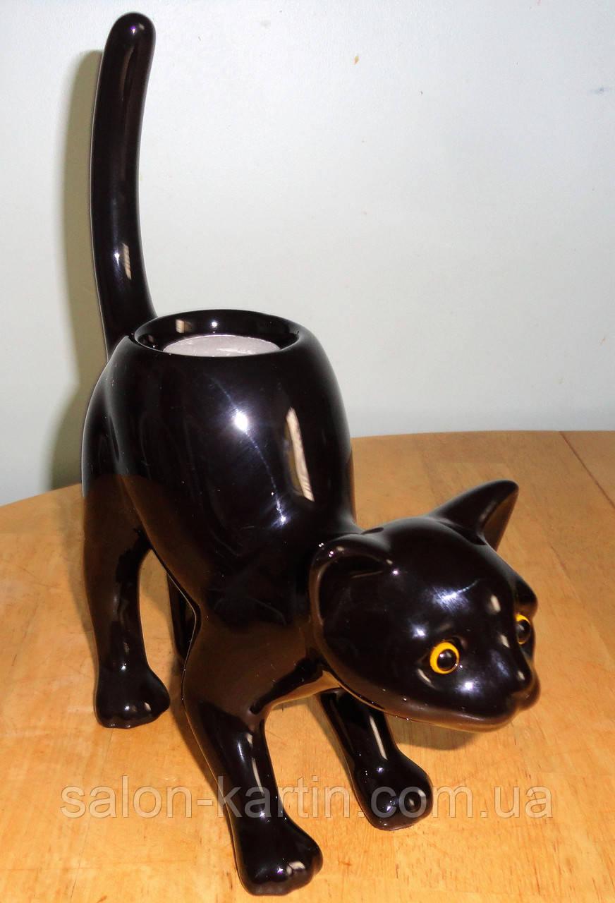 """Керамический подсвечник """"Черная кошка"""""""