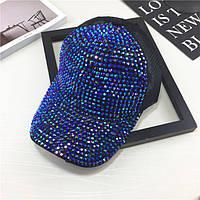 Женская кепка с камнями Diamond синяя