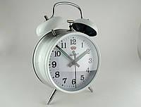 Механические часы PERFECT с будильником белые (классика жанра)