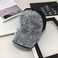 Женская кепка с камнями Diamond серебристая, фото 1