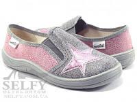 Слипоны мокасины тапочки для девочки Валди Вика 30-36 разм.розово-серебряная звезда