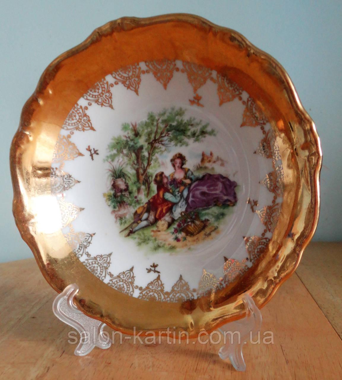 Элитная фарфоровая тарелка с позолотой, Германия