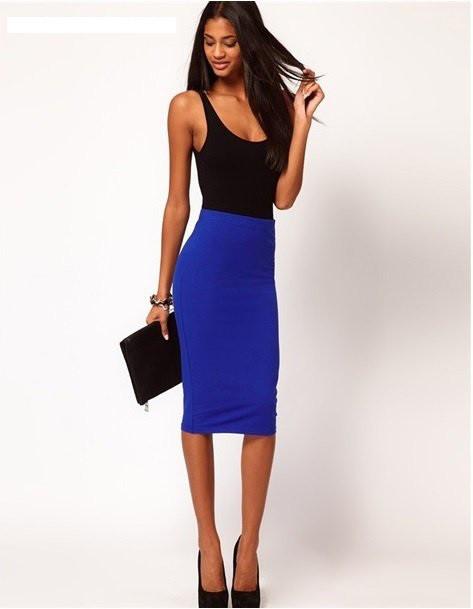 80863e9dead Стильная юбка карандаш синяя